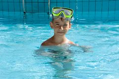 Cute boy wearing in yellow goggles Stock Images