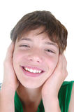 Cute boy on white background Stock Images