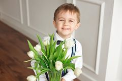 Cute boy in a white shirt and a tassel butterfly gives a bouquet of white tulips. royalty free stock photography
