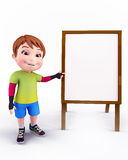 Cute boy with white sign Royalty Free Stock Image