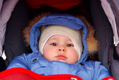 Cute boy in winter clothes.  royalty free stock photo