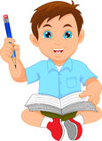 Cute boy writing and drawing. Vector illustration of cute boy writing and drawing royalty free illustration