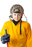 Cute boy in yellow hockey uniform Royalty Free Stock Image