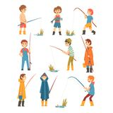 Cute Boys with Fishing Rods Set, Little Fishermen Cartoon Characters Vector Illustration. On White Background vector illustration