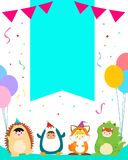 Cute boys and girls in animal costumes for kids party template v Stock Photos