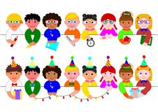 Cute boys and girls border set. With school items and with party hats and ties vector illustration