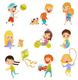 Cute boys and girls doing sports and playing set vector Illustrations on a white background stock illustration