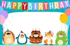 Cute boys and girls in fancy costumes for birthday party templat Royalty Free Stock Photos