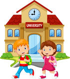Cute boys and girls in front of the campus Royalty Free Stock Photos