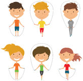 Cute boys and girls skipping rope vector set. Cute boys and girls skipping vector set. Kids do fitness exercises with jumping rope. Active healthy people Royalty Free Stock Photos