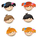 Cute boys and girls sticers Royalty Free Stock Photos
