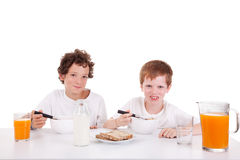 Cute boys taking breakfast Stock Images