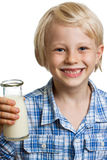 Cute boywith milk moustache and bottle Stock Image