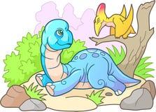 Cute brachiosaurus, funny illustration Stock Image