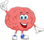 Cute brain cartoon character pointing