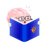 Cute brain cartoon character reading book. Mascot featuring a glasses-wearing. creative thinking and Learning. Activate your brain concept. Illustration Stock Images
