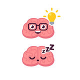 Cute brain idea icon. Cute brain character illustration. Sleeping and lightbulb idea concept. Cartoon vector icon vector illustration
