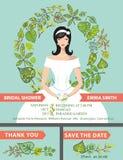 Cute bridal shower invitation set.Bride,green Royalty Free Stock Images