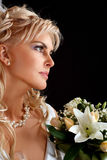 Cute bride girl with flowers Stock Image
