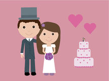 Cute bride and groom Stock Images
