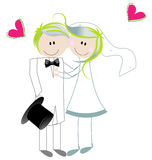 Cute bride and groom Royalty Free Stock Image