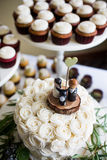 Cute bride, groom, and dog wedding cake topper Royalty Free Stock Images