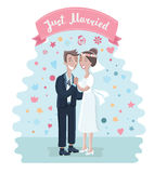 Cute bride and groom. Vector illustration of cartoon cute cart with bride and groom. whos loves each other. Just maried couple have gently hug Royalty Free Stock Photo