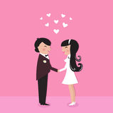 Cute Bride with groom, wedding ceremony. Wedding couple - bride and groom, isolated on pink. Vector Illustration Stock Images