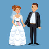 Cute Bride and groom, Wedding Party set illustration. Royalty Free Stock Photography