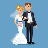 Cute Bride and groom, Wedding Party set illustration. Stock Image
