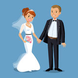 Cute Bride and groom, Wedding Party set illustration. Stock Photos