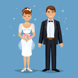 Cute Bride and groom, Wedding Party set illustration. Stock Images