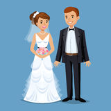 Cute Bride and groom, Wedding Party set illustration. Stock Photo