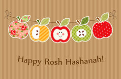 Cute bright apples garland as Rosh Hashanah Jewish New Year symbols. For your decoration Stock Photos