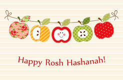 Cute bright apples garland as Rosh Hashanah Jewish New Year symbols. For your decoration Royalty Free Stock Image