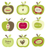 Cute bright colorful retro apple set for Jewish Stock Photo