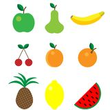Cute bright colors of fruits vector collections. Set of fruits are apple, lemon, banana, orange, pear, pineapple, cherries, royalty free illustration