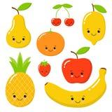 Cute bright colors of fruits vector collections. Set of fruits are apple, lemon, banana, orange, pineapple, mandarin vector illustration