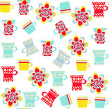 Cute bright cup seamless pattern and seamless pattern in swatch. Menu, vector  illustration Royalty Free Stock Photos
