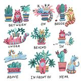 Cute bright hand drawn cat character in different poses with plant pot. Prepositions of place English. Studying of foreign