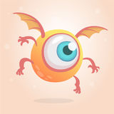Cute bright monster or alien with one eye. Cartoon funny doodle flying Cyclops smiling.Yellow vector illustration isolated. On white background. Halloween Stock Photo