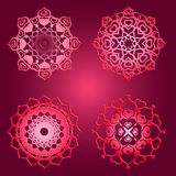 Cute  bright ornament for Valentine made from heart shapes in di. Fferent angles made in arabic east style Royalty Free Stock Images