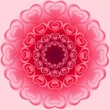 Cute bright ornament for Valentine made from heart shapes in dif. Ferent angles Royalty Free Stock Images