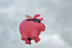 Cute Bright Pink Pig Hot Air Balloon Stock Image