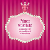 Cute bright pink purple striped background for lit. Tle princess, glamour girl and woman. realistic pearls frame with crown for your photo or sample text Stock Photo