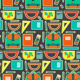 Cute bright school pattern with backpack, copybooks, pencils, pens, rulers Royalty Free Stock Images
