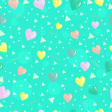 Cute bright seamless background with hearts colored triangles and inscriptions Stock Image