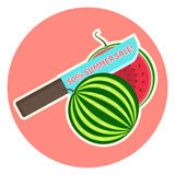 Cute bright Summer Sale emblem with 50 percent sale text on knife cutting fresh tasty watermelon. Cute bright Summer Sale emblem with 50 percent clearance text royalty free illustration