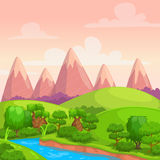 Cute bright vector sunny day landscape Royalty Free Stock Photography