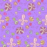 Cute bright violet doodle floral pattern Stock Photos